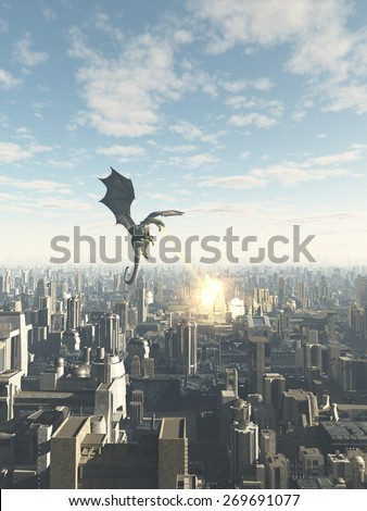 Science fiction or fantasy illustration of a dragon making a fiery attack on a future city, 3d digitally rendered illustration