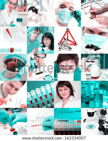 Scientists working in the lab, collage
