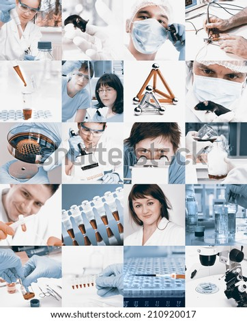 Scientists working in the lab, collage, toned images