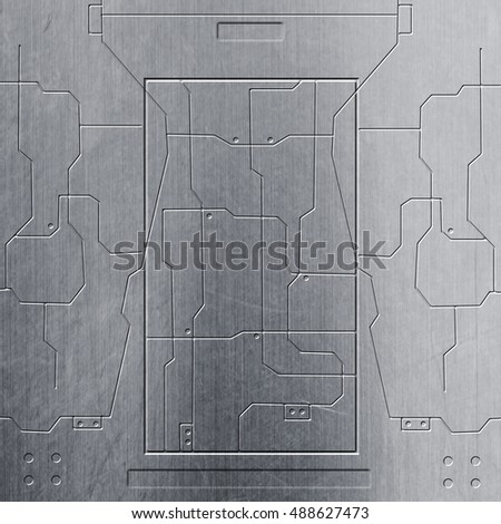 floor plan creator chrome. scifi wall  chrome metal and circuits background texture 3d illustration Scifi Wall Chrome Metal Circuits Stock Illustration 488627473