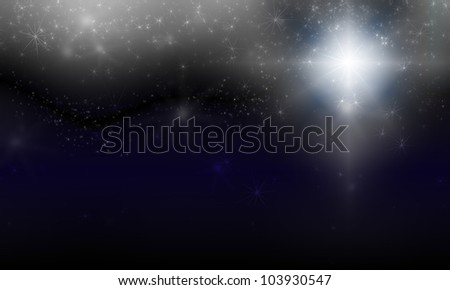 scintillation on dark abstract background with bokeh and stars