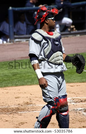 SCRANTON - May 13: The Columbus Clippers catcher Carlos Santana motions to the pitcher in a game against Scranton Wilkes Barre Yankees in a game at PNC Field May 13, 2010 in Scranton, PA