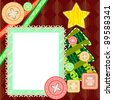 Scrapbook template for New Year or Christmas with fir tree and frame - stock vector