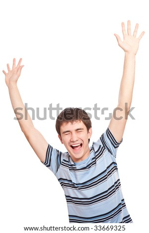 Screaming guy over white background