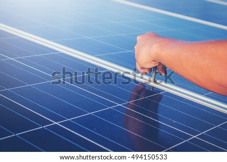 screw of structure mounting solar panel in solar power plant