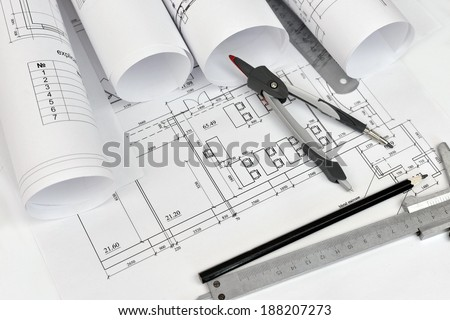 Architecture Plan Rolls Blueprints Stock Photo 392189275