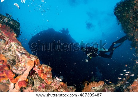 Scuba diver underwater portrait in the deep blue ocean and backlight sun