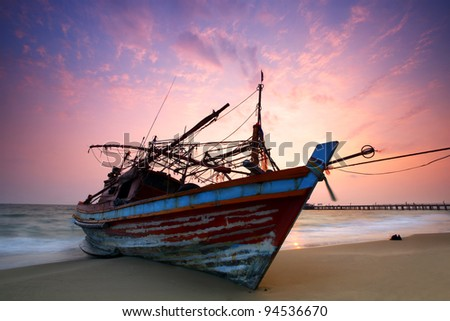 sea and boat landscape at sunset time as background