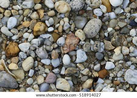 Sea gravel at low tide.