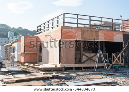Sea house in the process of construction in Japan.