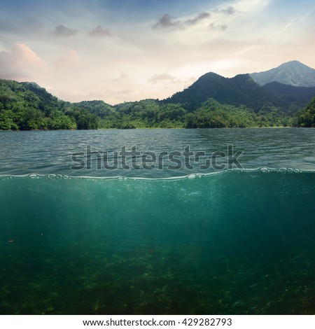 Sea landscape design template with underwater part and coast mountain splitted by waterline