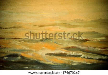 sea landscape , illustration, painting by oil on a canvas