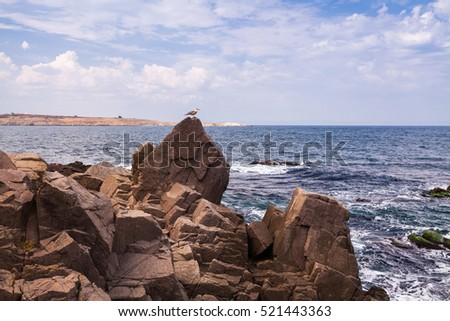 sea landscape in Bulgaria. Beautiful view with the rocks. The beauty of nature. Waves on a Sunny day. Journey through