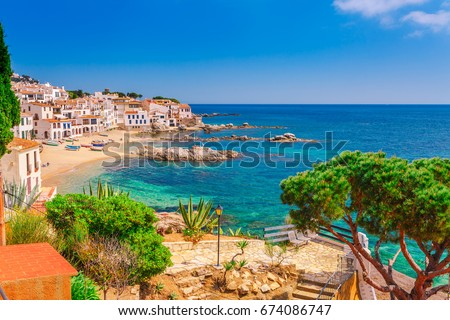 Tourist woman cadaques catalonia spain near stock photo - Calella de palafrugell office tourisme ...