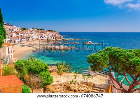 Tourist woman cadaques catalonia spain near stock photo - Calella de palafrugell office tourisme ...