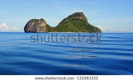 Sea landscape with Helicopter island. El Nido, Philippines
