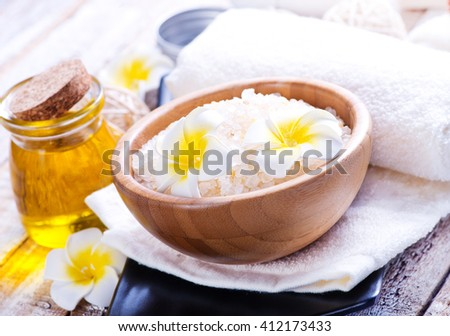 sea salt and towel for massage