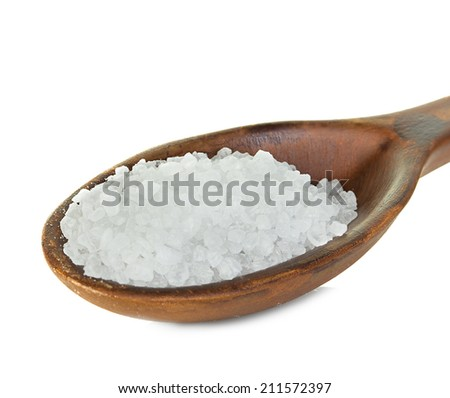 sea salt spoon isolated on white background