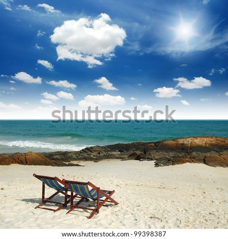 sea sand sun beach together blue sky chair alone background design stone clear