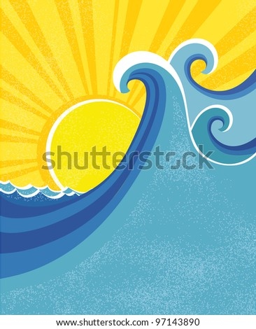 Sea waves poster. Raster