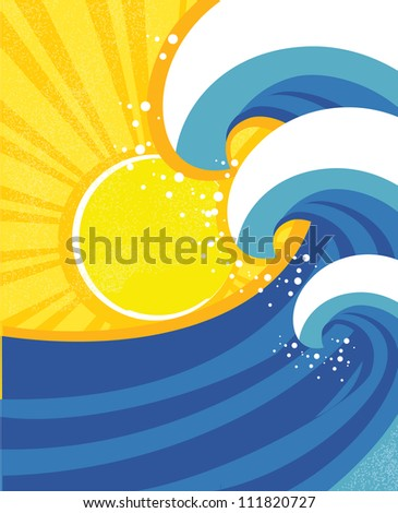 Sea waves poster with sea landscape.Raster