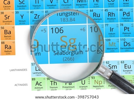 Darmstadtium symbol ds element periodic table stock photo 398756956 seaborgium symbol sg element of the periodic table zoomed with magnifying glass urtaz Images