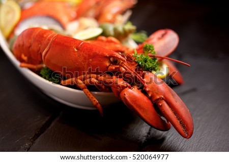 Seafood lobster platter with ice on slate
