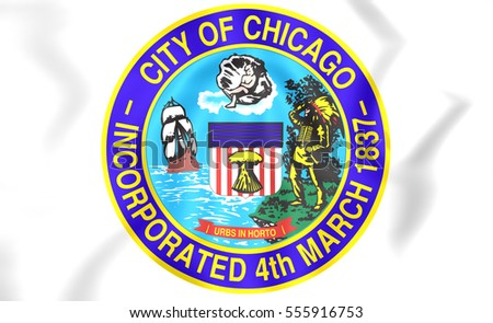 Seal of Chicago, USA. 3D Illustration.