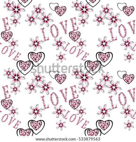 seamless abstract floral pattern with red hearts in retro style, white background,