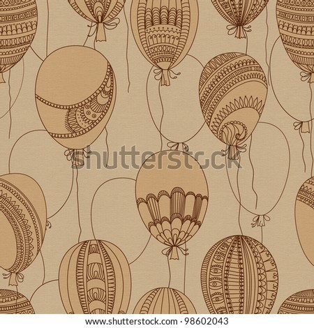Seamless abstract pattern, flying balloons