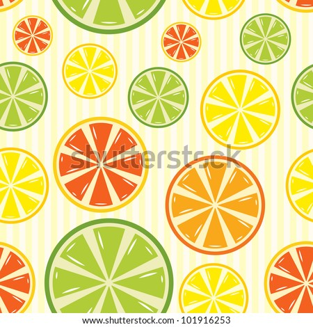 seamless background with lemon, lime, orange and grapefruit. Raster version