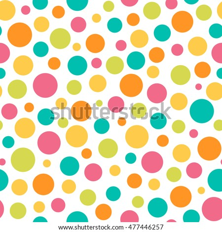 Seamless Bright Multi Color Scattered Dot Pattern