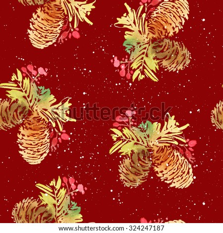 Seamless Christmas pattern. Watercolor.