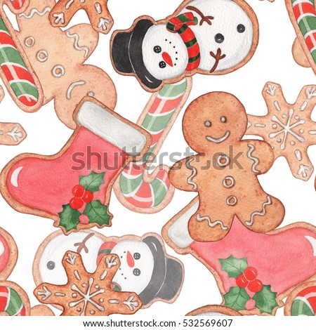 Seamless Christmas pattern with gingerbread 2. Handmade watercolor illustration. Suitable for Christmas decoration.
