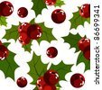 Seamless christmas pattern with holly berry on white. Raster version. - stock vector