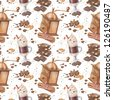 Seamless coffee mill, latte and chocolate. Watercolor pattern. - stock photo