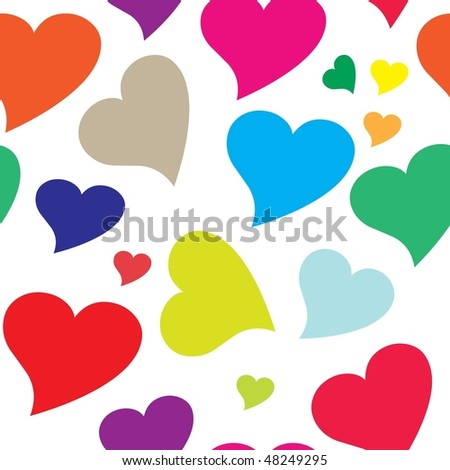 Seamless colorful heart pattern