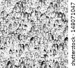 Seamless crowd of people illustration - stock photo