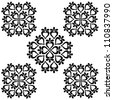Seamless damask pattern - black - stock photo