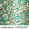 Seamless doodle abstract swirls pattern. Raster. - stock vector