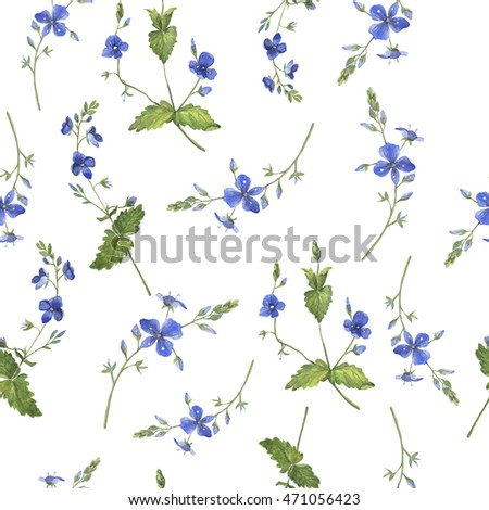 Seamless floral forget-me-not pattern painted by watercolor. Hand drawn illustration.