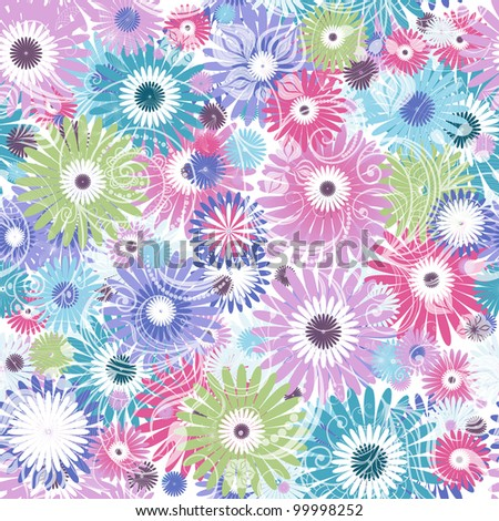Seamless floral dark pattern with vivid colorful vintage flowers curls ...