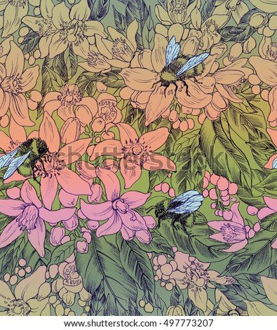 Seamless floral pattern with bumblebees and orang flowers. Hand panting. Raster illustration
