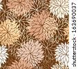 Seamless floral pattern with flowers of chrysanthemum. Raster version - stock