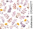 Seamless floral style template with cute flowers, vintage leaves and watercolour rabbits. Retro naive design on white background. - stock vector