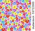 Seamless floral vivid pattern with colorful flowers - stock vector