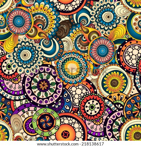 Vector Abstract Circles Doodle Wave Decorative Stock