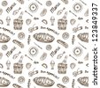 Seamless food pattern. Vintage style - stock photo