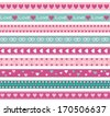Seamless funny borders with hearts. Raster version - stock