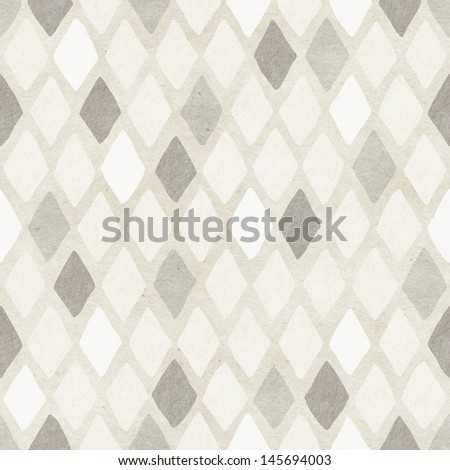 Seamless hand-drawn harlequin pattern on paper texture. Argyle background.